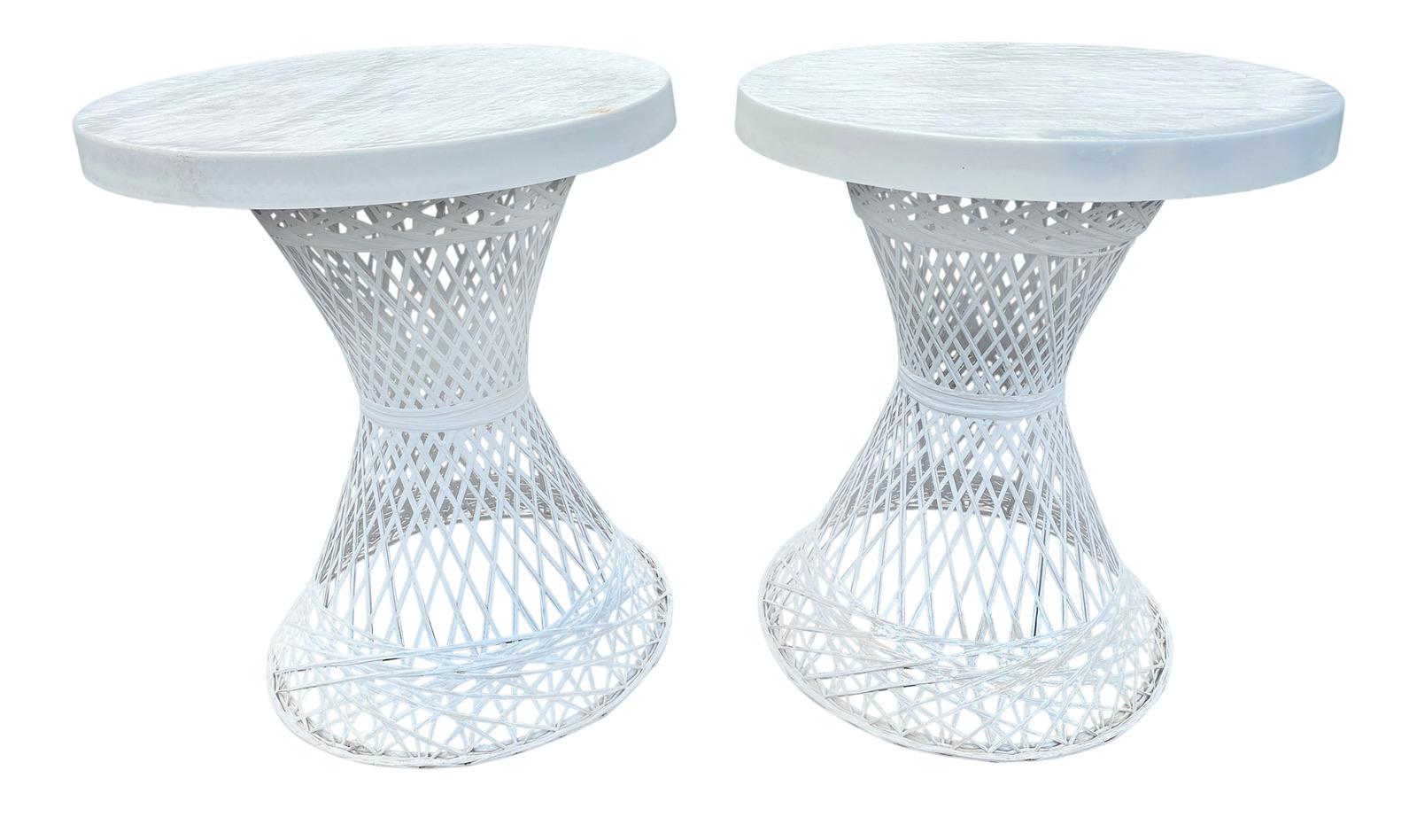 vintage russell woodard spun fiberglass wicker patio side tables a pair