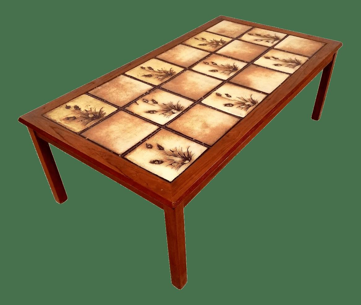 mid century danish tile top coffee table
