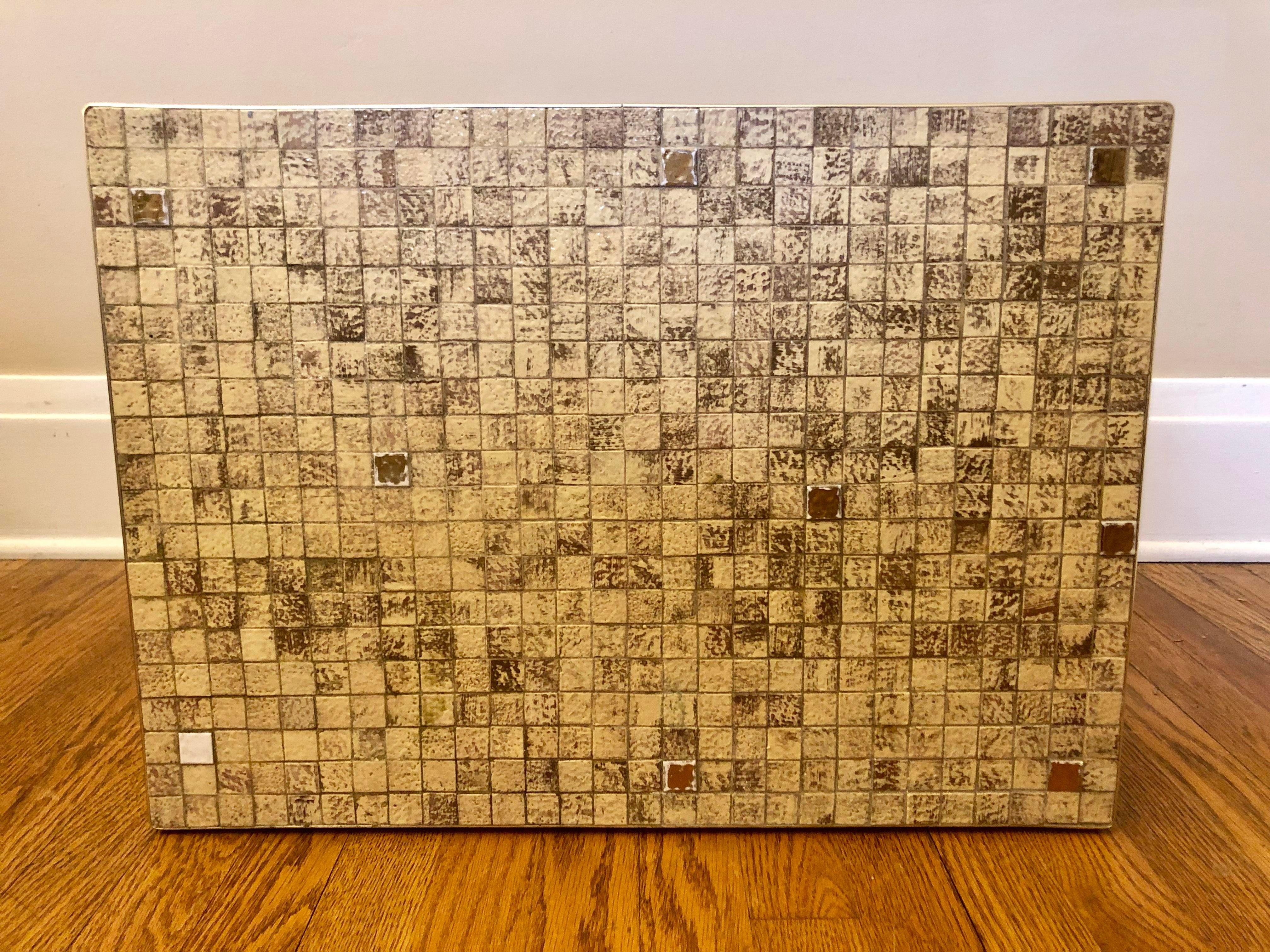 mid century brass tile top table