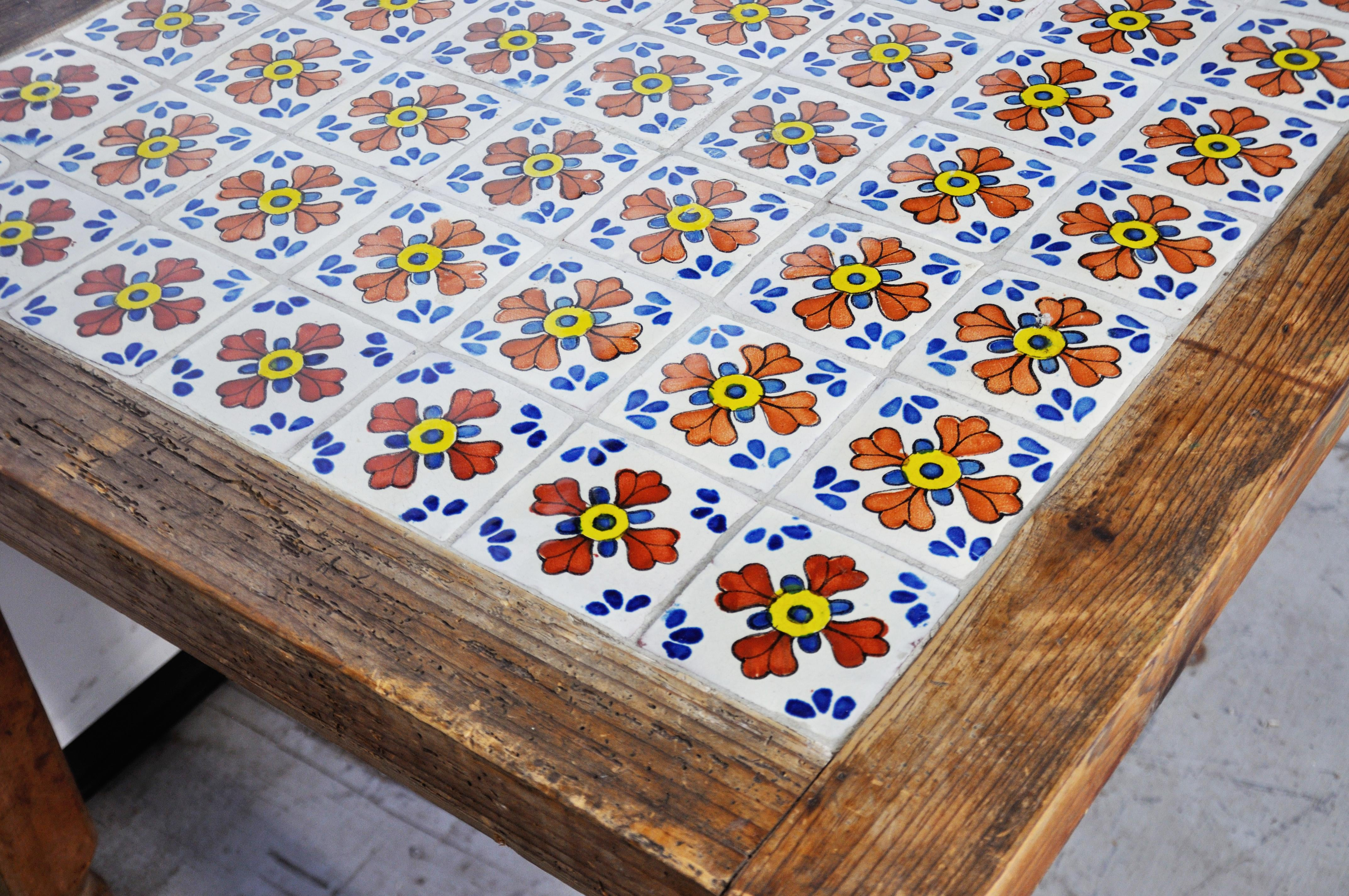 1950 s mexican ceramic tile dining table