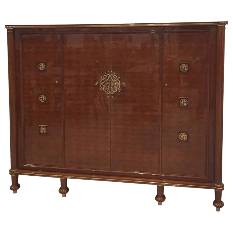 jules leleu signed french art deco cabinet for sale