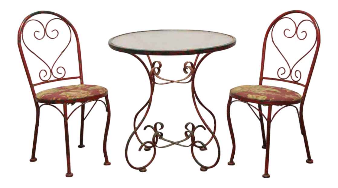 vintage red steel glass top outdoor patio table set set of 3
