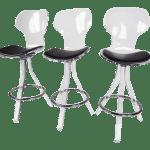 Modern Lucite Swivel Bar Stools Set Of 3 Chairish