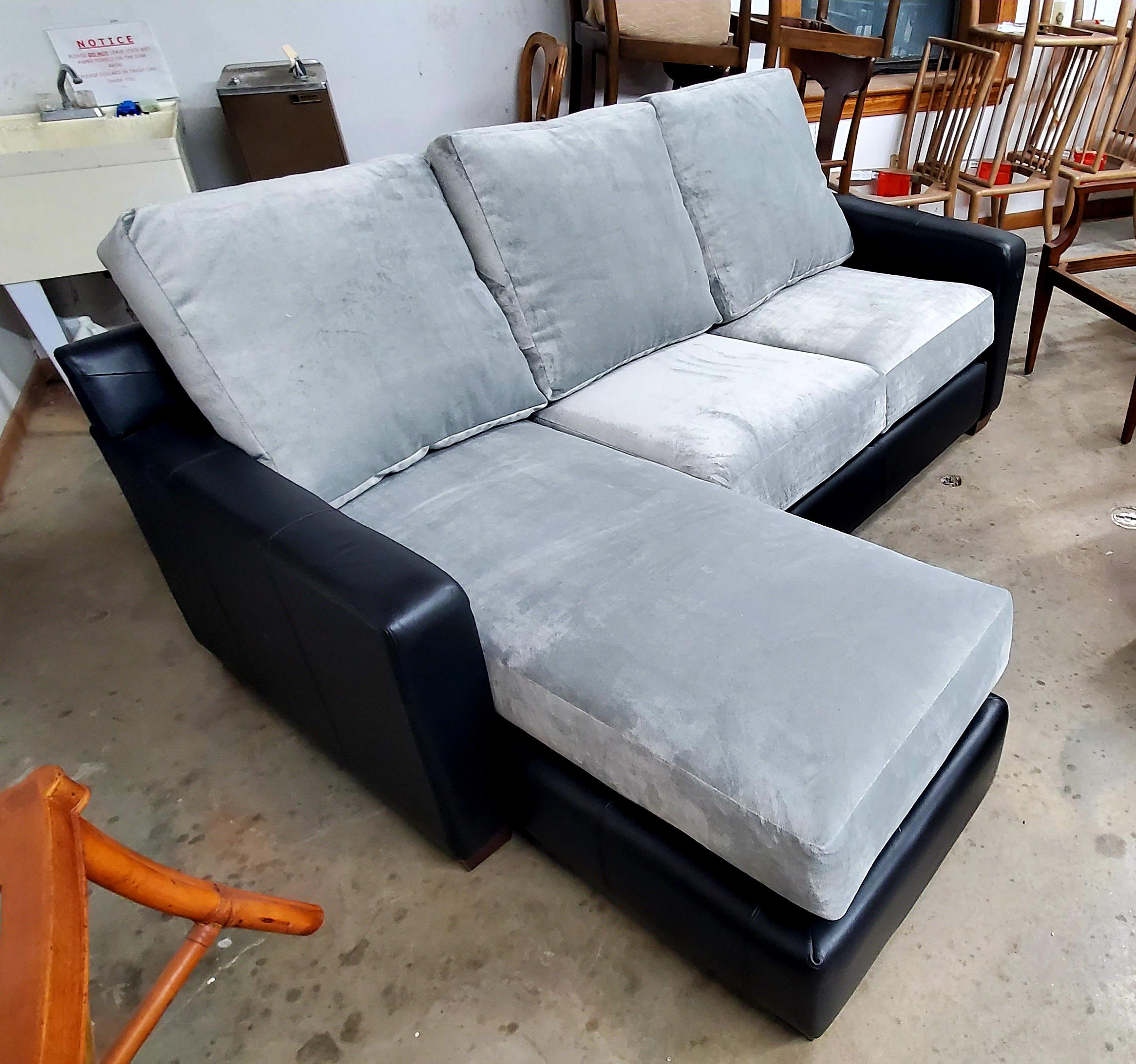 thomasville furniture black leather and grey velvet sofa sectional w chaise