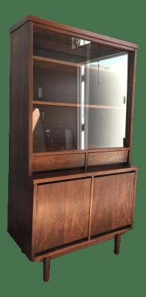 Vintage Mid Century Modern Walnut China Hutch Cabinet By Stanley Furniture Chairish