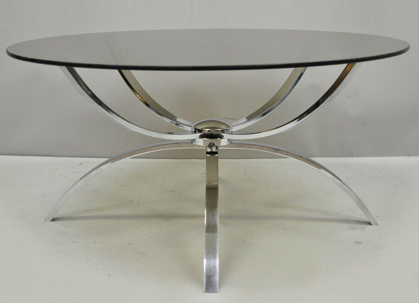 italian mid century modern chrome steel spider base round glass top coffee table