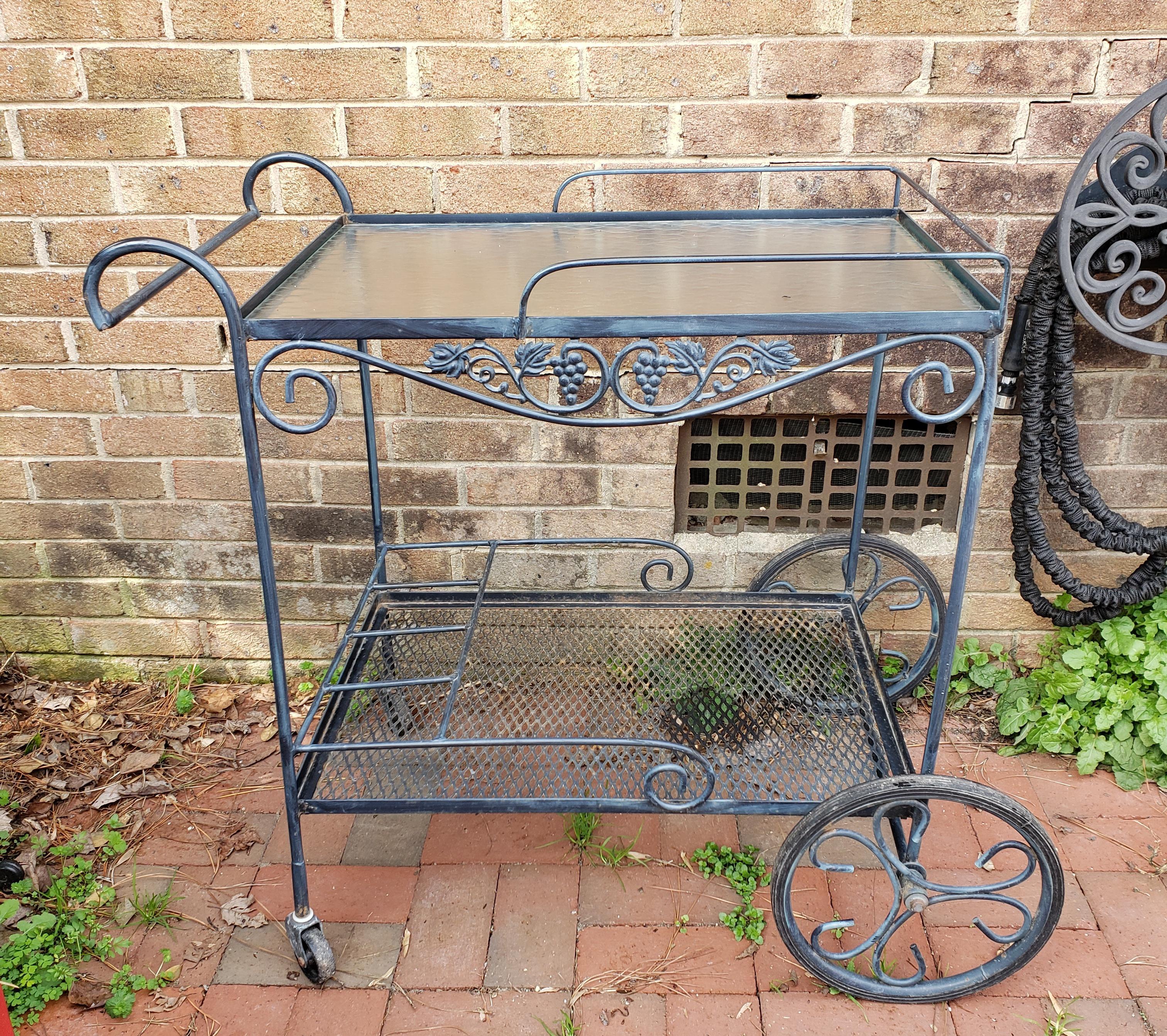 vintage mid century russell woodard salterini wrought iron garden patio bar cart