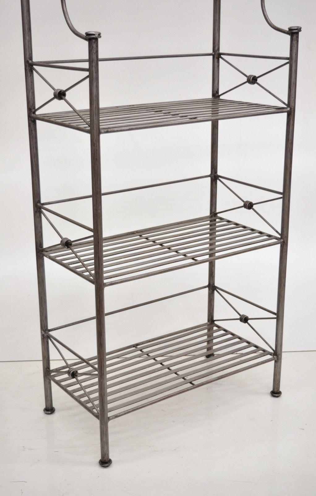pier 1 medici collection pewter iron bakers rack shelf bathroom stand etagere