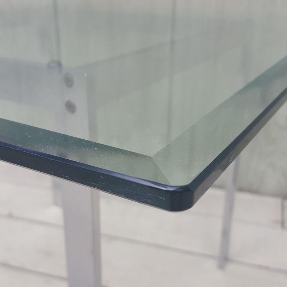 1960s scandinavian kjaerholm kastholm beveled edge glass top coffee table