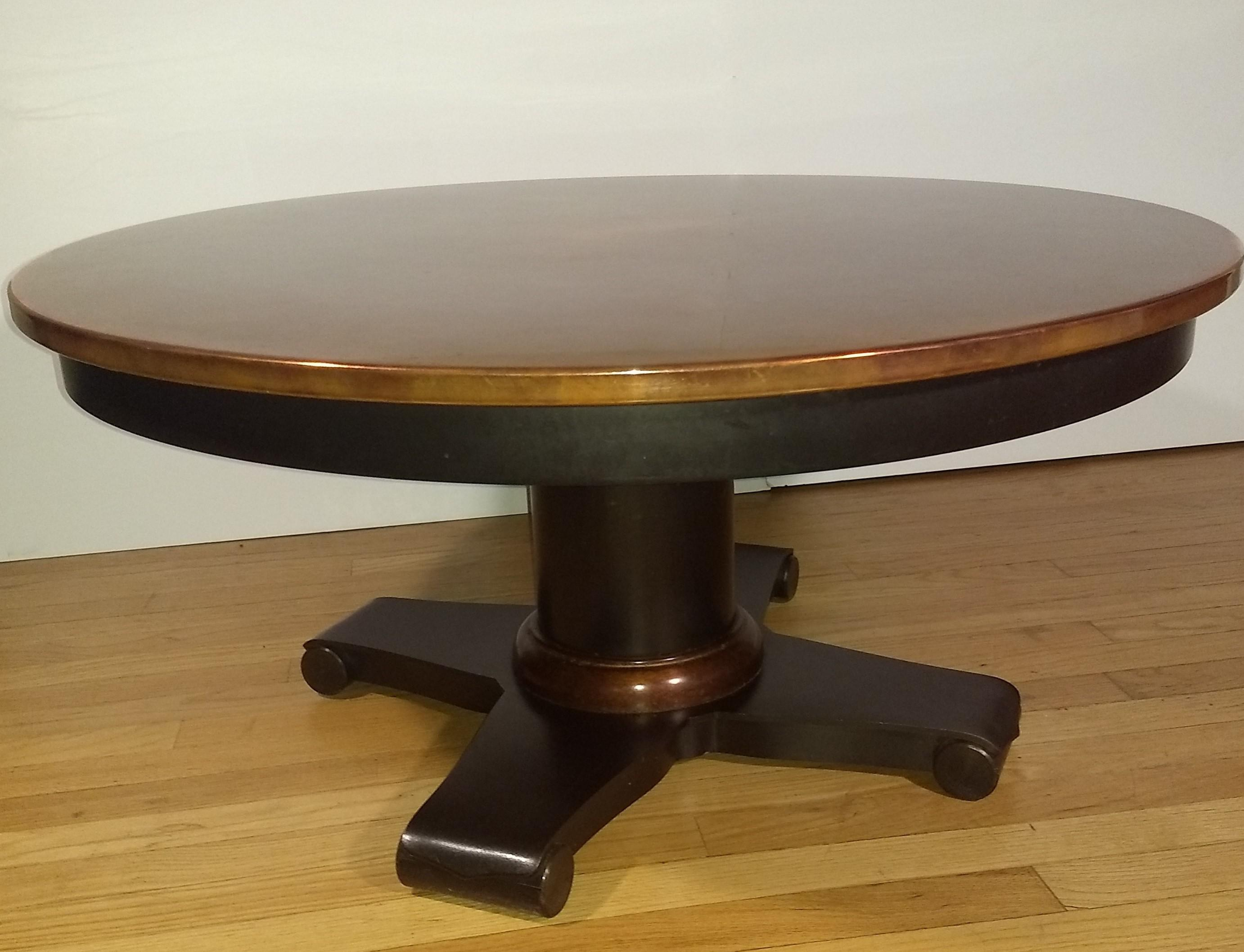 crate barrel collina round copper topped coffee table with black metal base