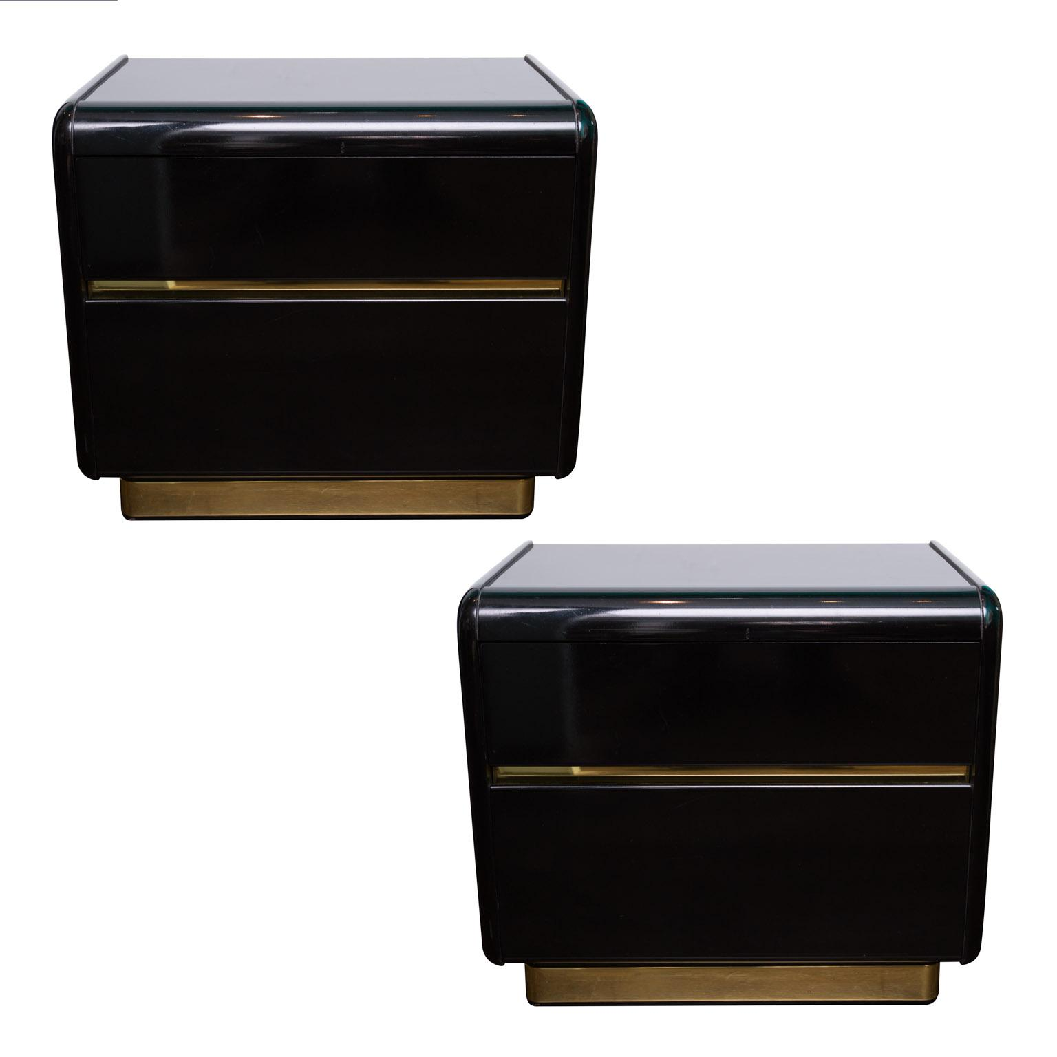 Lane Black Lacquer Nightstands A Pair