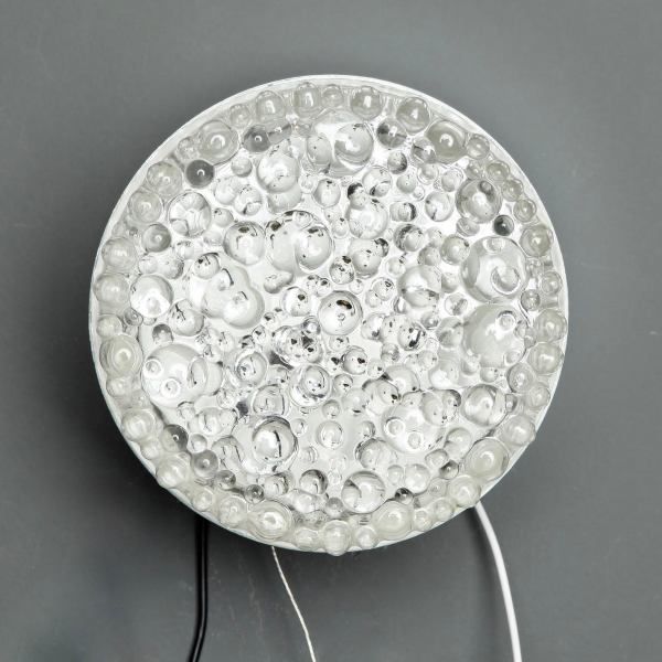 Mid Century Round Molded Bubble Glass Wall or Ceiling Light   Chairish Industrial Mid Century Round Molded Bubble Glass Wall or Ceiling Light For  Sale   Image
