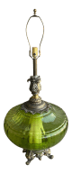 Vintage Hollywood Regency Empoli Glass Lime Green Gold Table Lamp Chairish