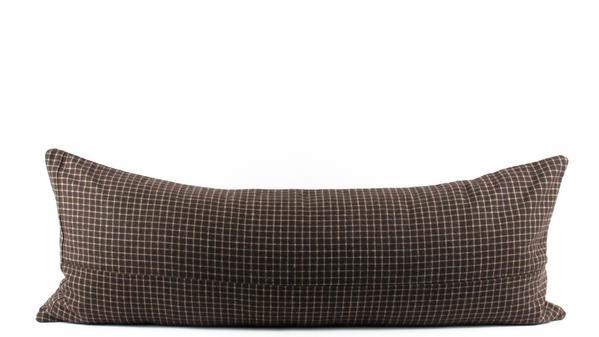 brown mini plaid wool lumbar pillow 13 x 34