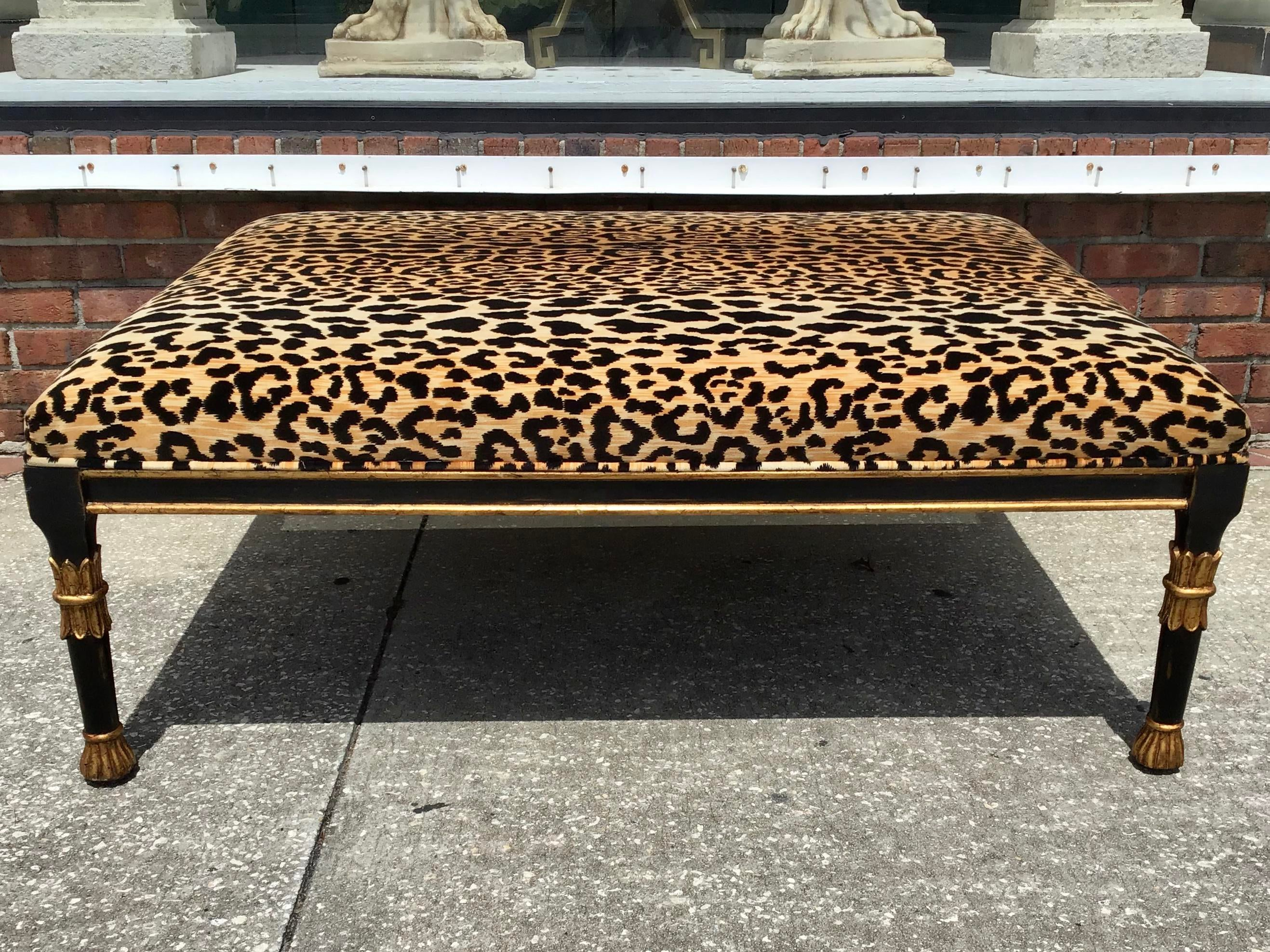 continental large coffee table ottoman with leopard print velvet