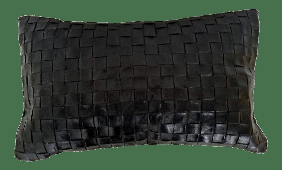contemporary woven leather lumbar pillow