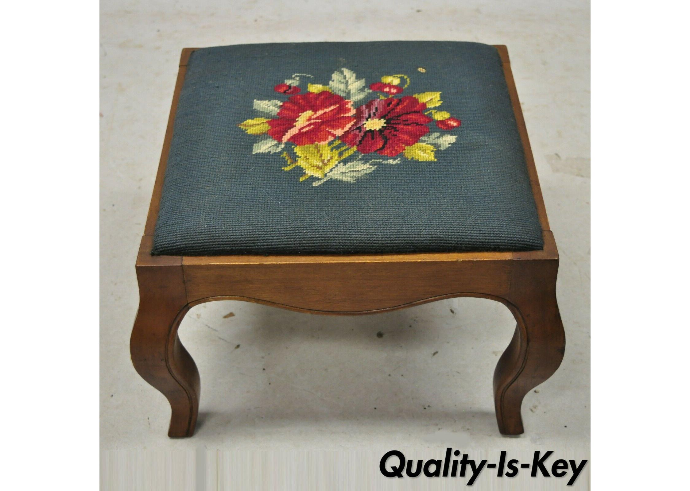 french country victorian green needlepoint square small petite ottoman footstool