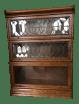 Antique Globe Wernicke Leaded Glass Door Oak Barrister Bookcase