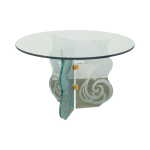 Contemporary Phoenix Etched Round Glass Dining Table Possibly Pace Chairish
