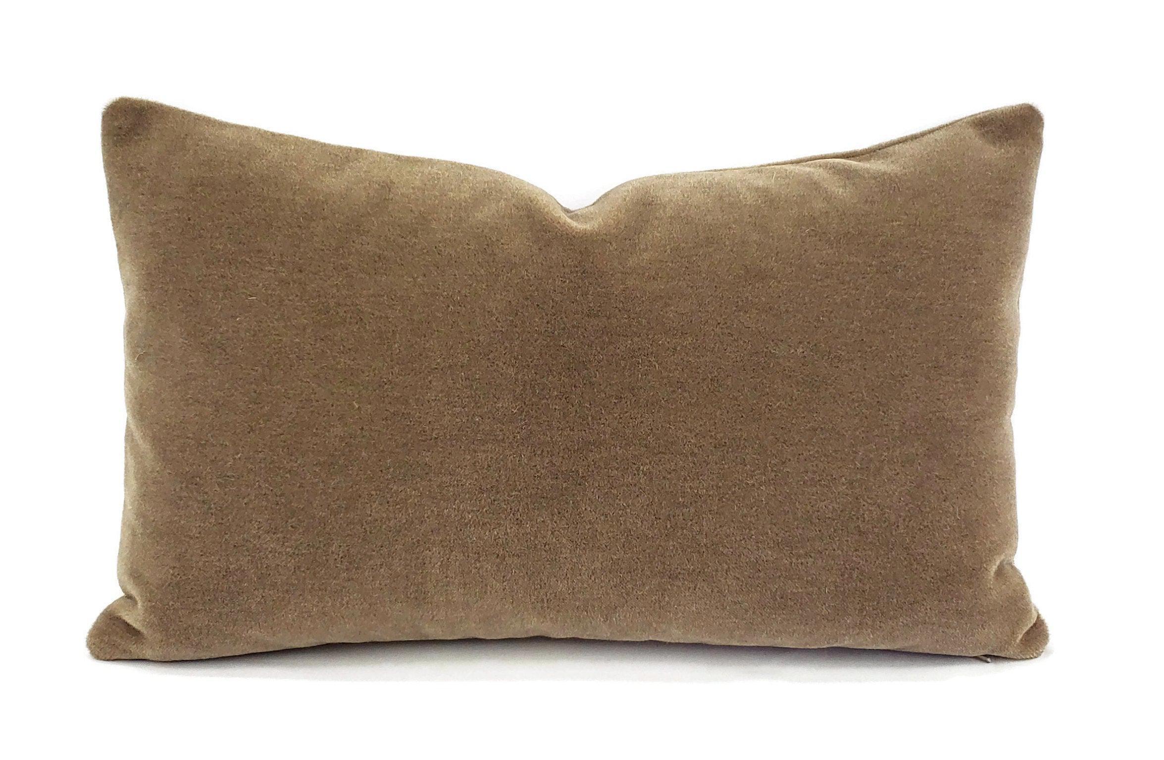 maharam mohair supreme in stonehenge lumbar pillow cover 12 x 20 solid stone brown mohair velvet rectangle cushion case