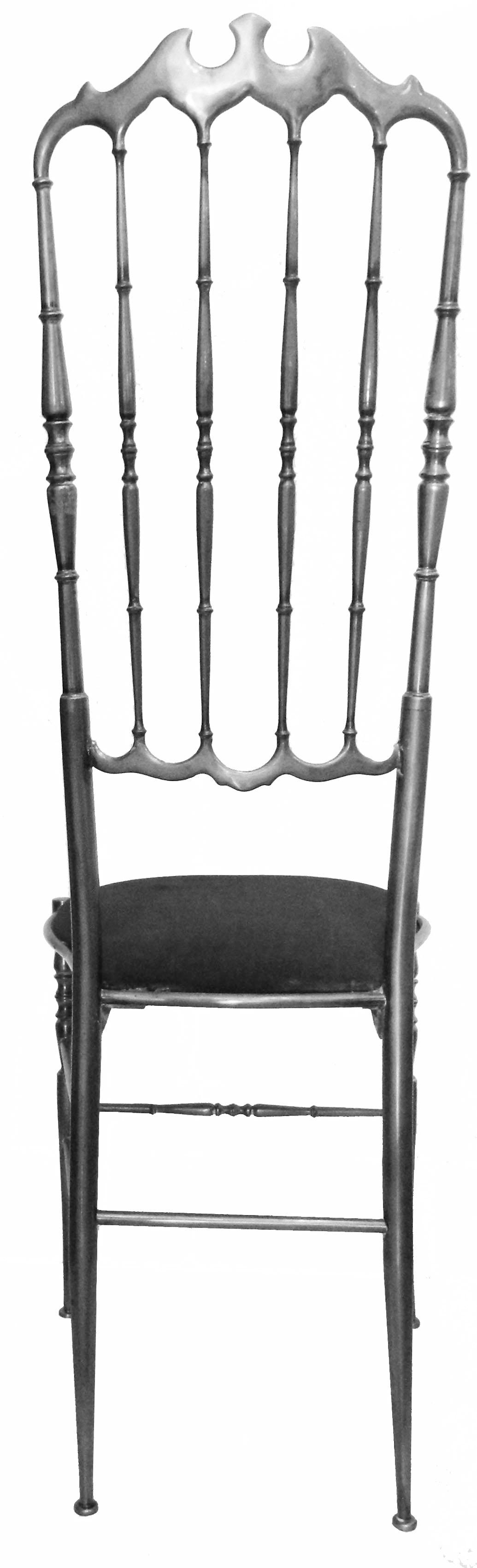 set of height exceptional very high back nickel plated chiavari chairs black velvet top