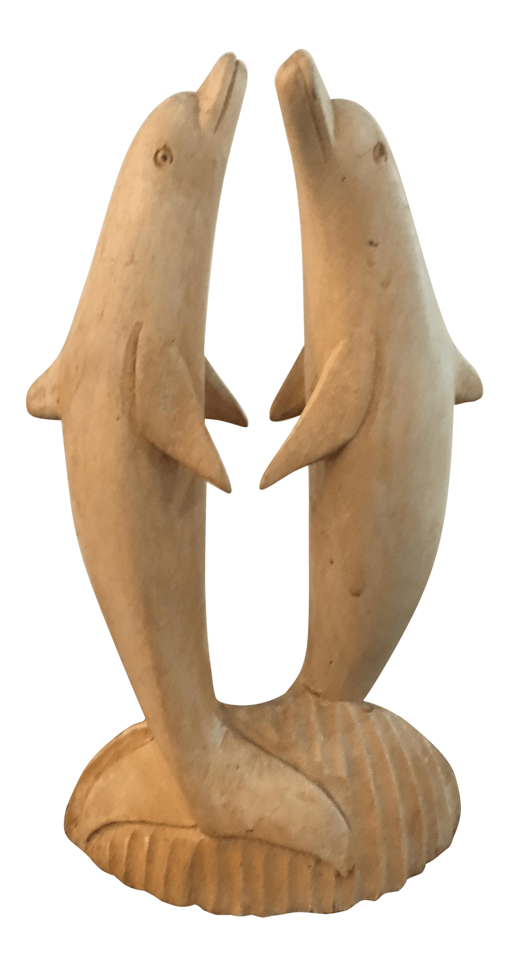 Wooden Hand Carved Dancing Dolphins Chairish