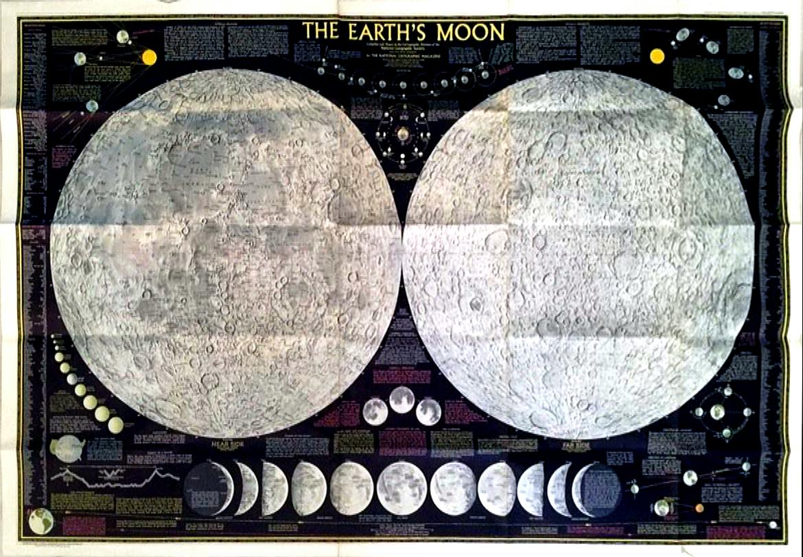1969 National Geographic The Earths Moon Map Chairish