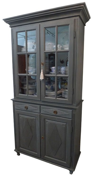 Gustavian Tall China Cabinet Dark Gray Chairish