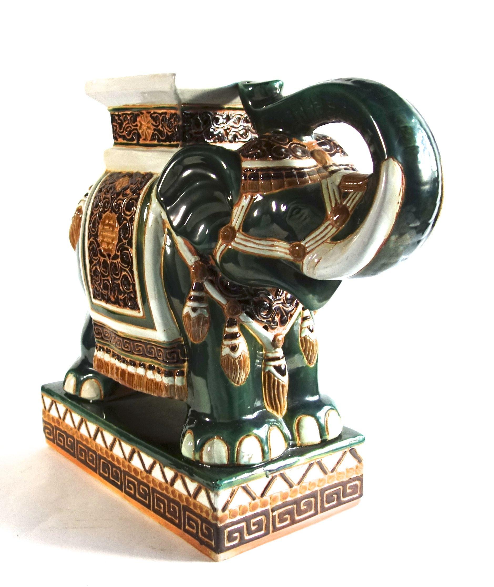 Colorful Ceramic Elephant Table Chairish