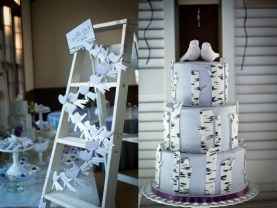 wood ladder as a seating chart display at Louvier Village Clubhouse, photographed by Honeytree Designs