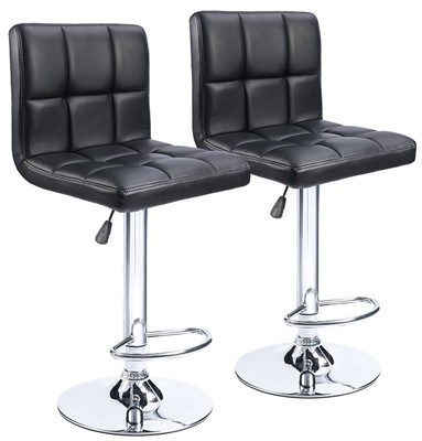 Homall Swivel Black Bonded Leather Bar Stool - upholstered bar stools with back and arms