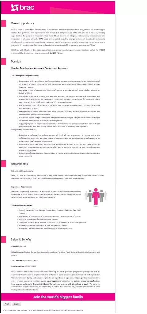 Brac Ngo job circular has been published for their Dhaka Head Office. Brac Ngo Job Seekers star the procedures to apply it.