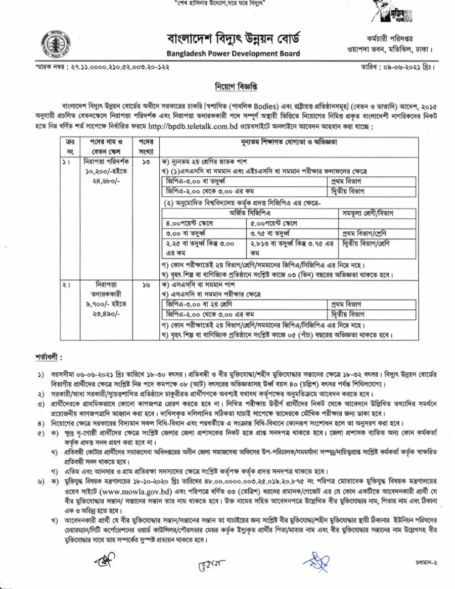 Bangladesh Power Development Board (BPDB) Job Circular 2021 √ Apply Fast