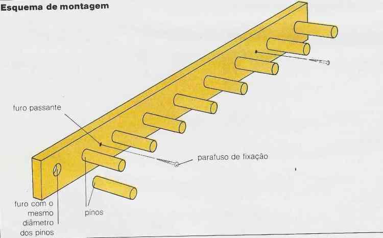 ilustração do esquema de montagem do suporte para ferramentas