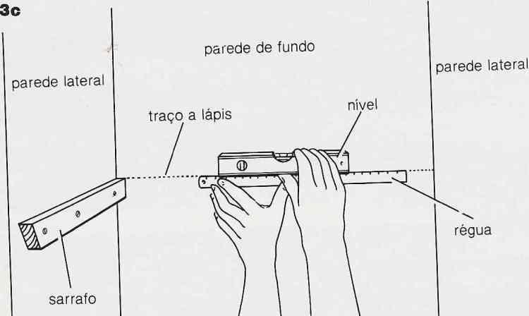 ilustração de instalação de prateleiras no passo 3c