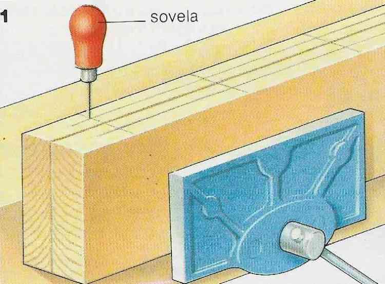 ilustração demonstrando a construção das juntas com cavilhas no passo 1
