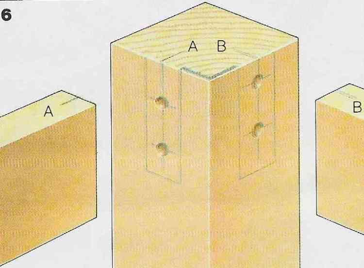 ilustração demonstrando a construção das juntas com cavilhas no passo 6