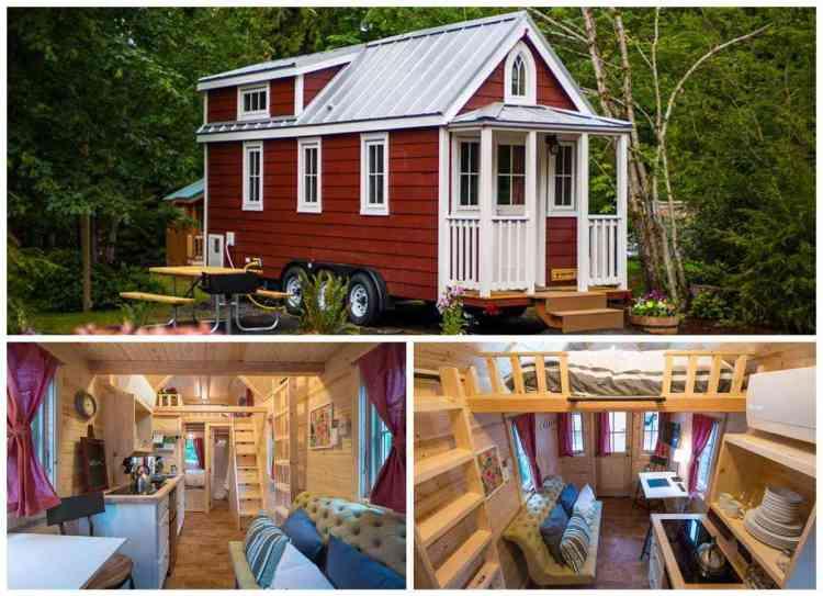 foto de Tiny House vermelha com interior caramelo