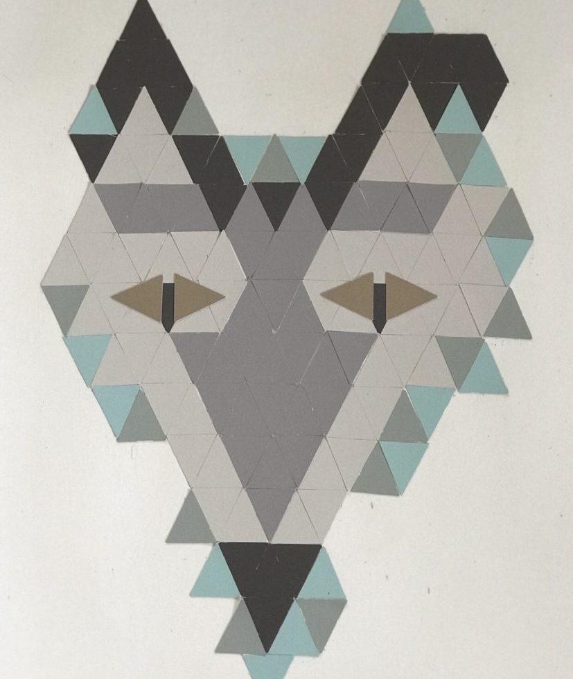 DIY: Tierische Farbkarten-Collage aus Dreiecken