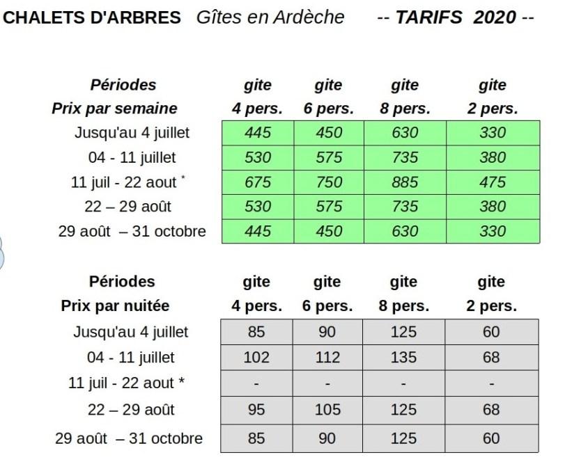 Chalets d\'Arbres Tarifs Disponibilités