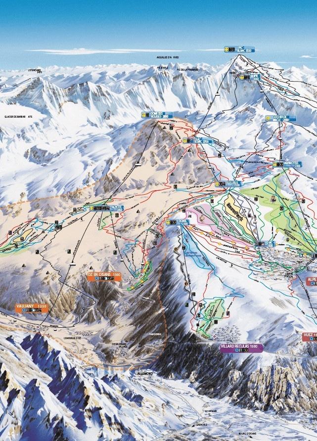 chalet Skidh . plan des pistes Grand domaine Alpe d'Huez