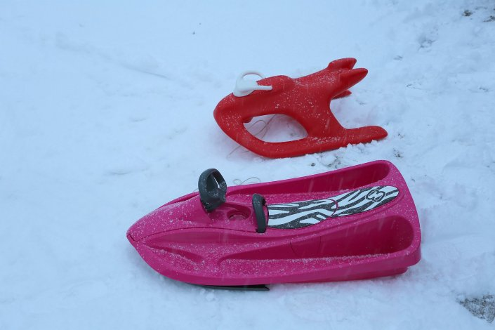 Outside photos - Sledges available for guests' use at the chalet