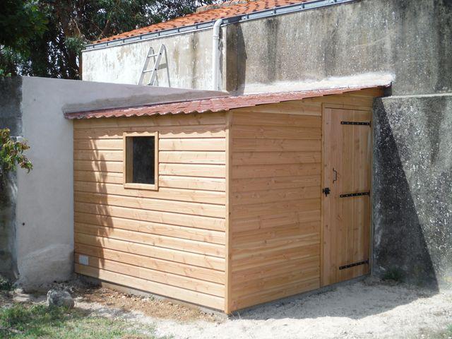 Abri de jardin en douglas (bardage et structure), couverture tôle imitation tuile.
