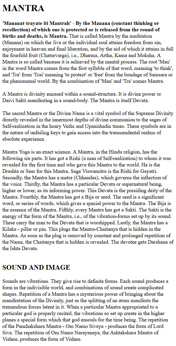 what does mantra mean in english