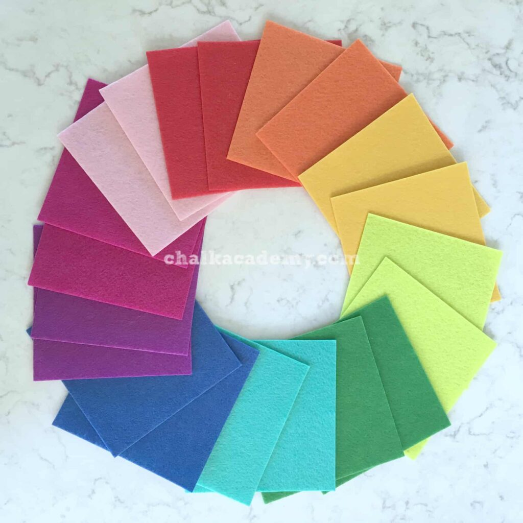 Colorful felt! Red, Orange, Yellow, Green, Blue, Purple, Pink