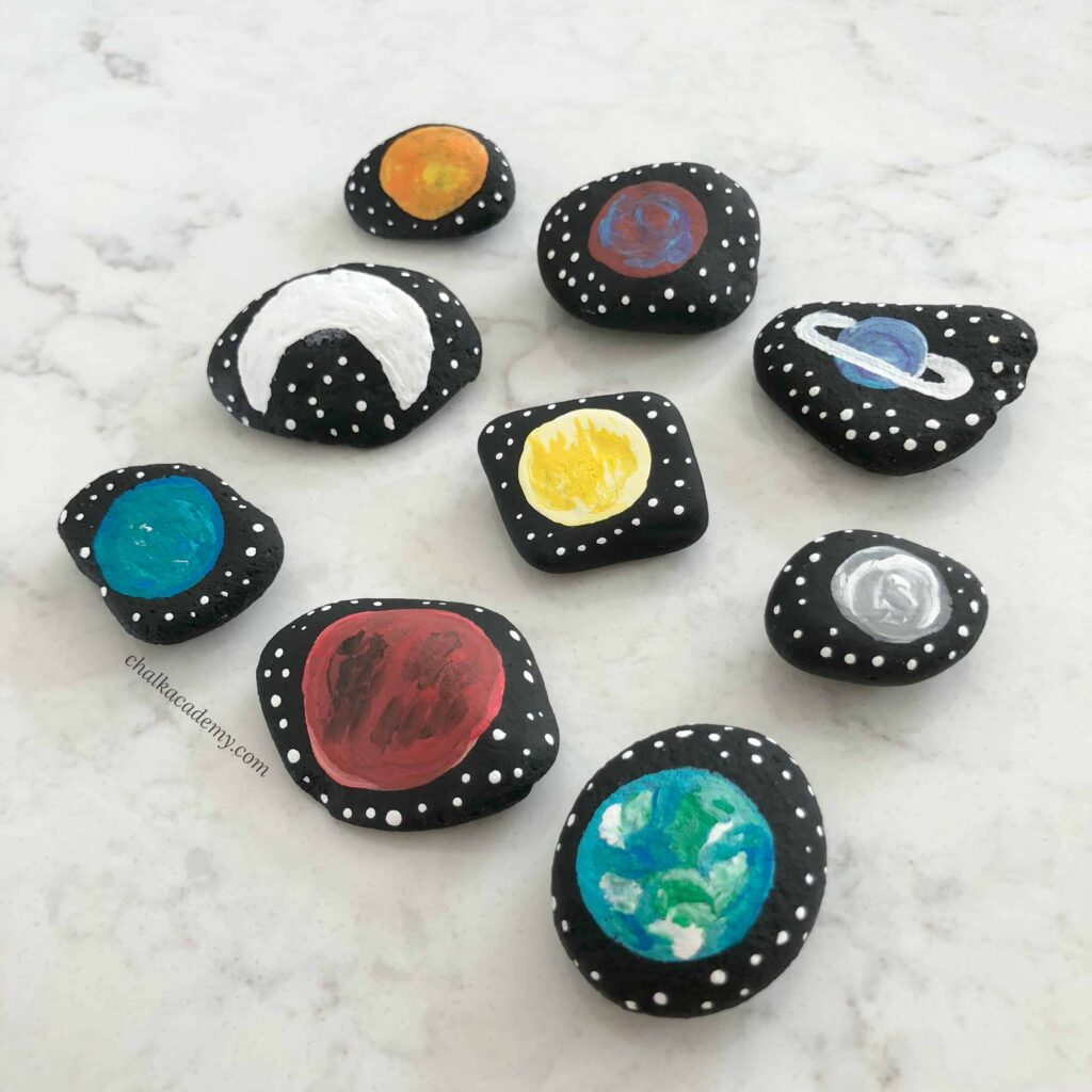 Solar system story stones - 8 planets + moon