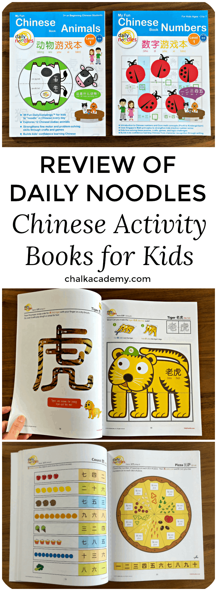 Daily Noodles Chinese Numbers and Animals Activity Workbook