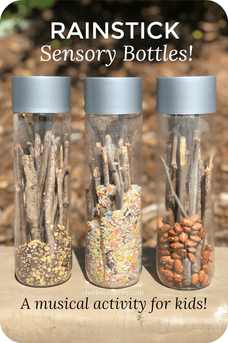 Rain stick sensory bottles - a fun, easy, musical activity for kids!  They are fun and easy for kids to make on their own!  Preschool | Elementary school | Homeschool | Music | Hands-on learning