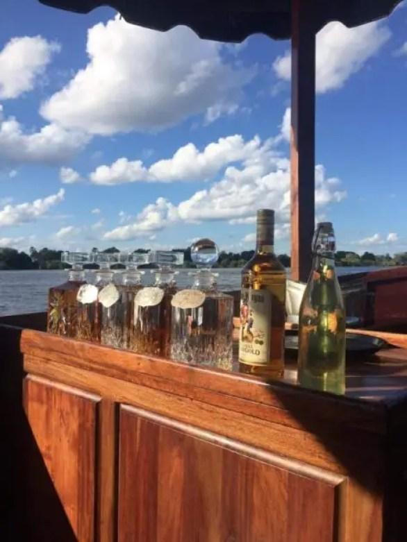 The bar on the Zambezi river cruise