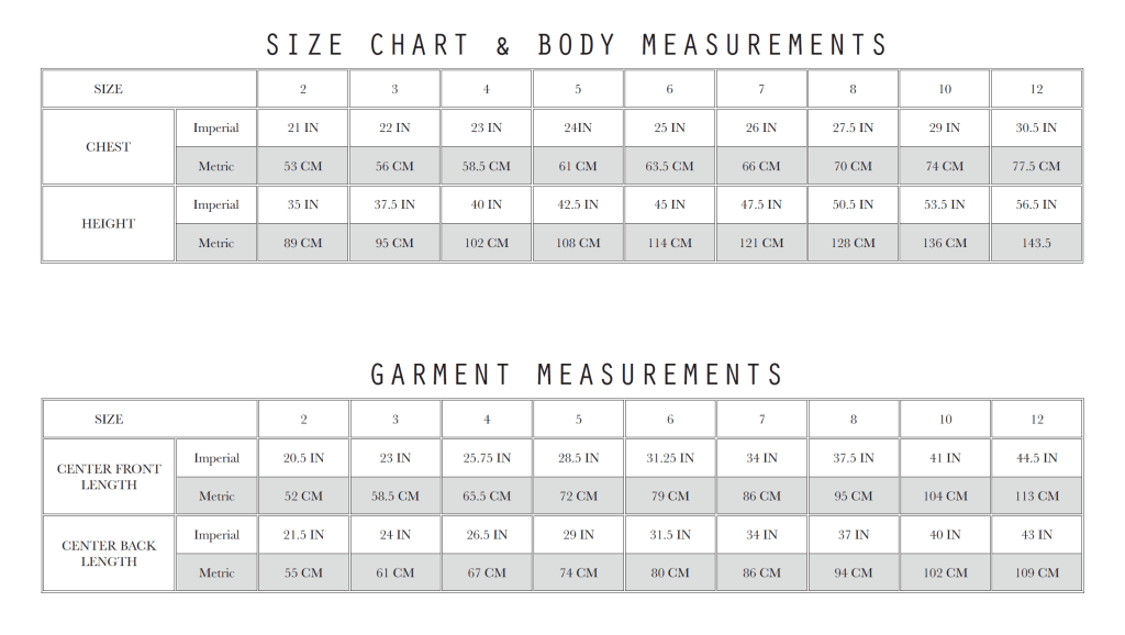Cascade Maxi Size Chart